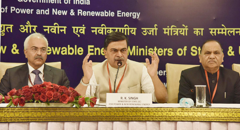 The Minister of State (I/C) for Power and New and Renewable Energy, Shri Raj Kumar Singh addressing a press conference, in New Delhi on December 07, 2017. 	The Secretary, Ministry of Power, Shri Ajay Kumar Bhalla is also seen.