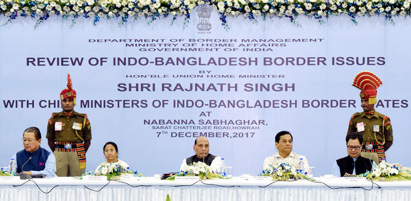 The Union Home Minister, Shri Rajnath Singh chairing a meeting with the Chief Ministers and representatives of the Indo-Bangladesh Border (IBB) States, in Kolkata, West Bengal on December 07, 2017.