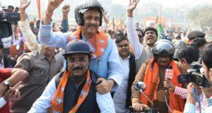 भाजपा की कमल संदेश बाईक रैली डिप्टी सीएम दिनेश शर्मा के नेतृत्व में निकाली गई